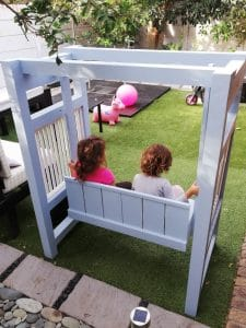 2-in-1 Solid Wood Children's Swing Bench Back BLUE