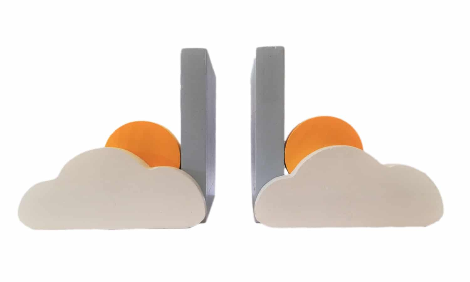 Sun and Cloud Bookends Product Image (Blue) - Pips and Moo - Children's Wooden Toys and Furniture