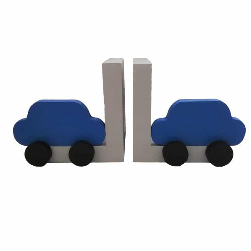 grey bookends with blue car