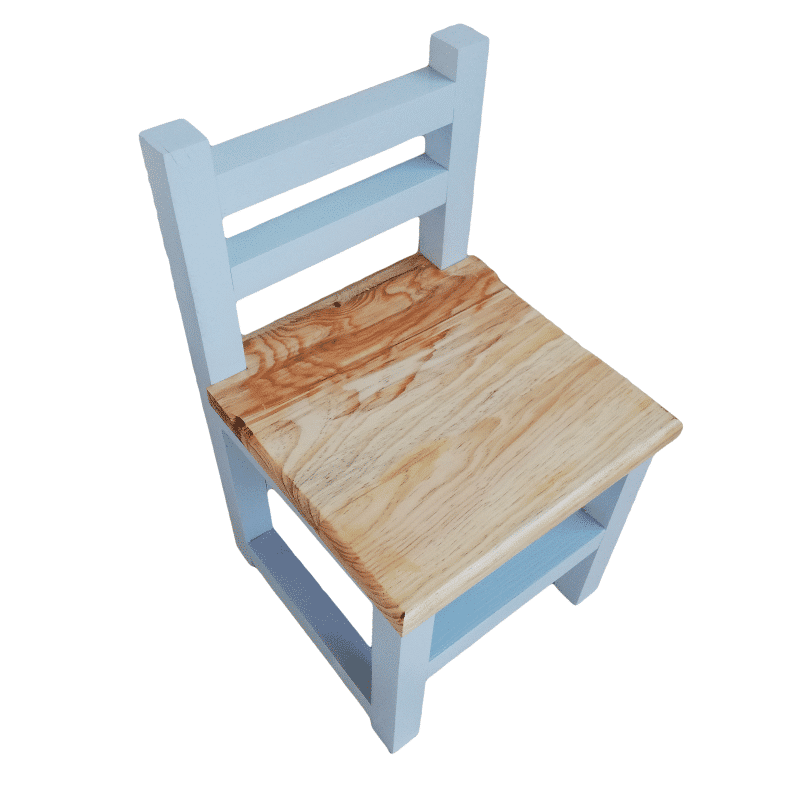 Blue Children's Chair with natural wood seat