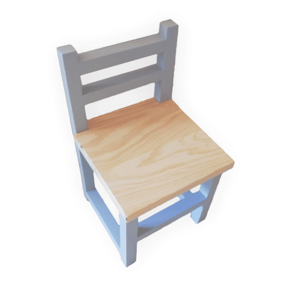 Grey Children's Chair with natural wood seat
