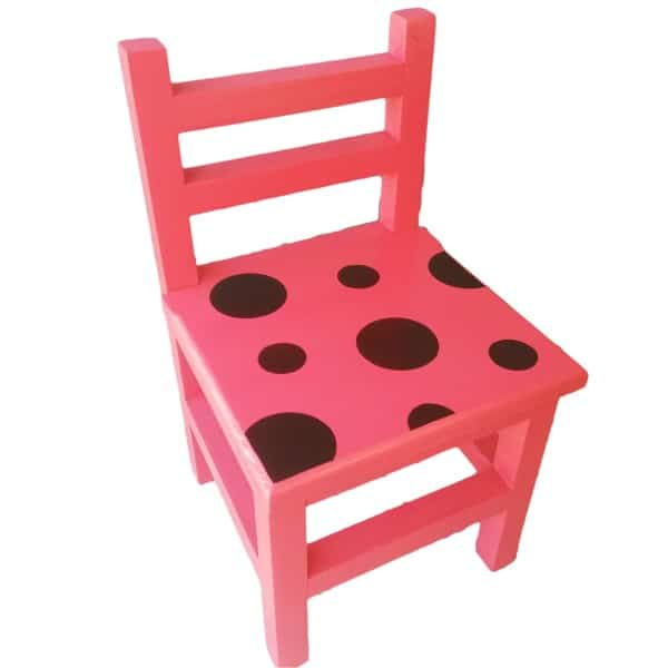Children's Red Wooden Chair with Ladybird spots on seat