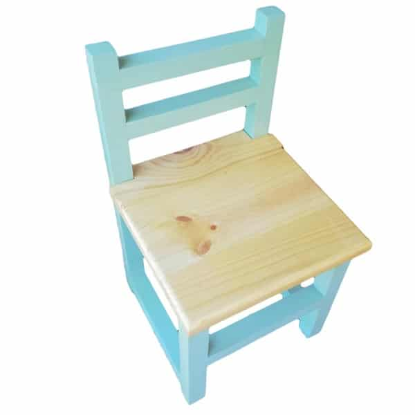 Children's Wooden Chair with Turquoise Frame and Natural Seat