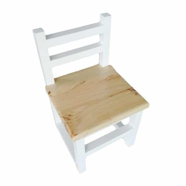 White Children's Chair with natural wood seat
