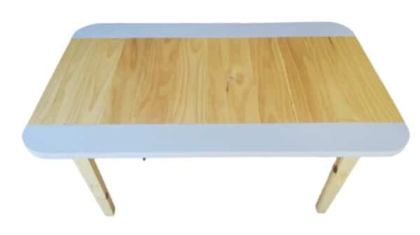 Large Pips and Moo Rectangular Pine Table with Lilac colour strips