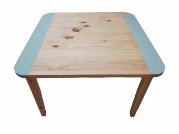 Large Square Wooden Table with rounded corners and Turquoise colour strips along two edges