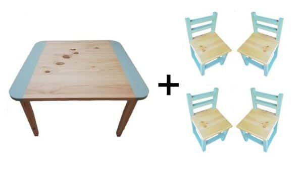 Square Table (Large) and 4 Chairs Set - Turquoise