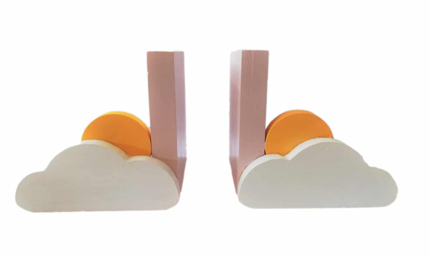 Sun and Cloud Bookends (Pink) - Pips and Moo - Children's Wooden Toys and Furniture