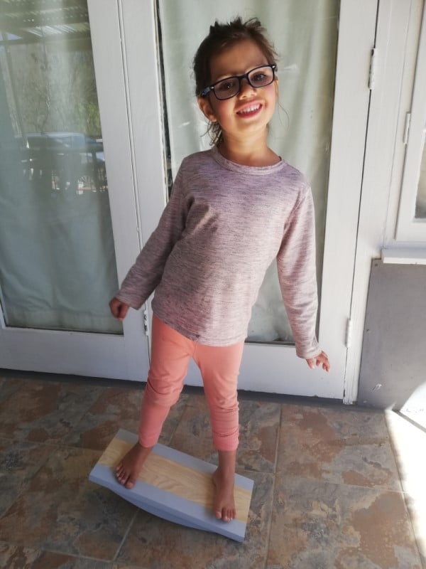 Child Balancing on Balance Board