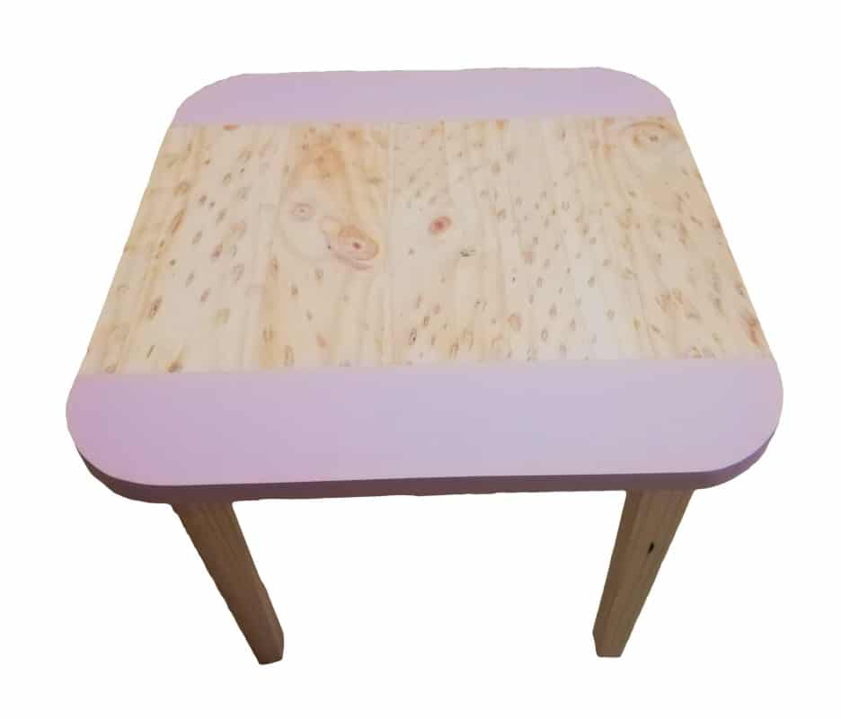 Medium Wooden Square Table with rounded corners and pink colour strips down two sides