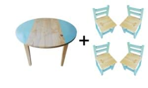 Circular Table (Large) and 4 Chairs Set - Turquoise