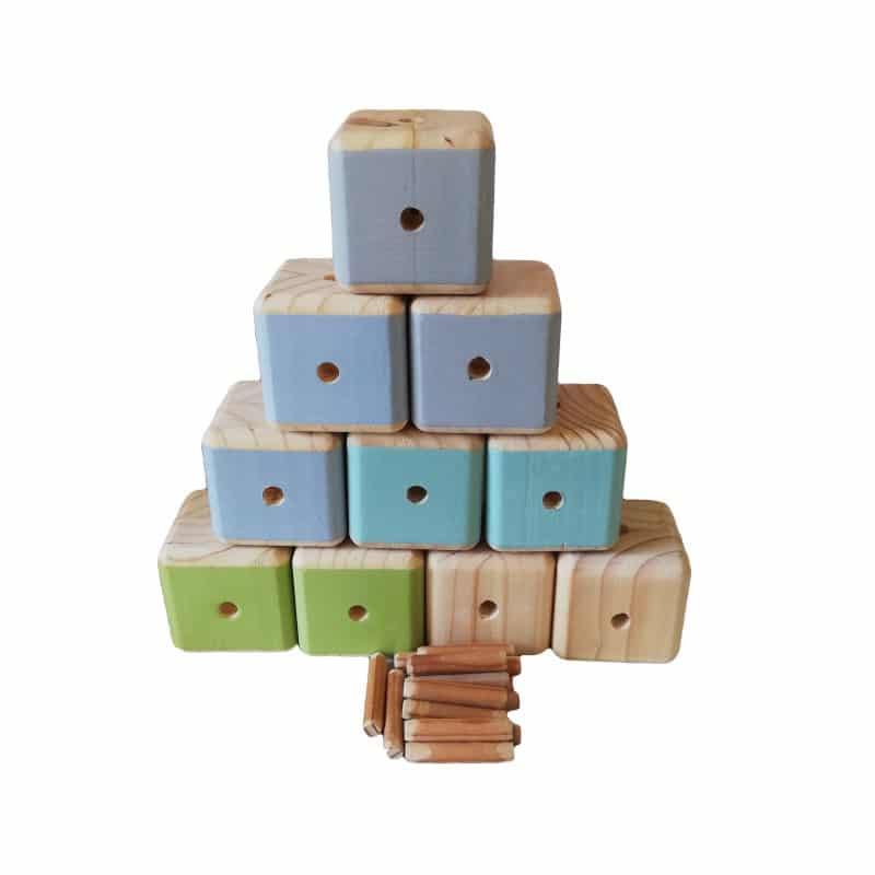 Set of 10 mixed colour Connector Blocks from Pips and Moo