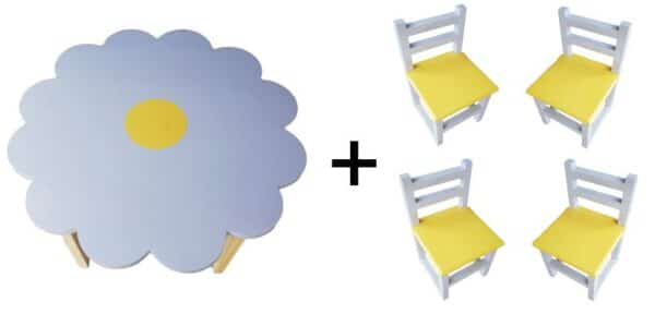Flower Table (Large) and 4 Chairs Set - Lilac - Pips and Moo - Children's Wooden Furniture, Toys and Decor