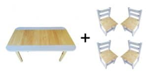 Rectangular Table (Large) and 4 Chairs Set - Lilac