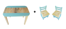 Rectangular Table (Medium) and 2 Chairs Set - Turquoise - Pips and Moo