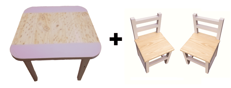 Square Table (Medium) and 2 Chairs Set - Pink - Pips and Moo